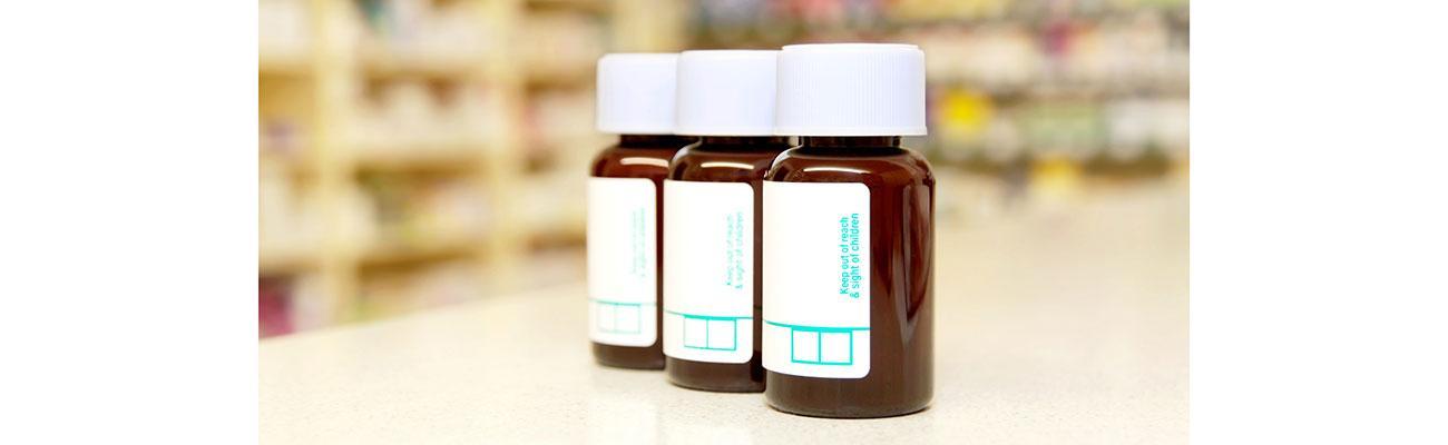 pill bottles on a counter