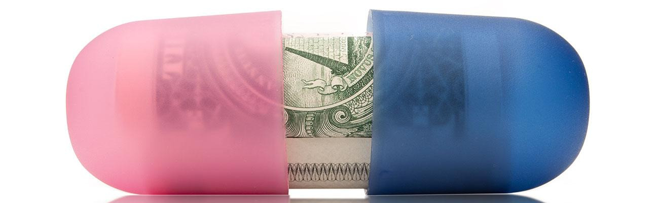 A pink and blue bill with money inside.