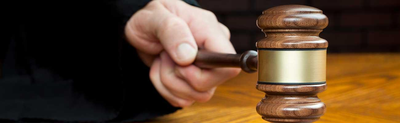A hand holding a gavel.