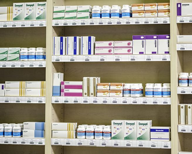 A pharmacy stock room.