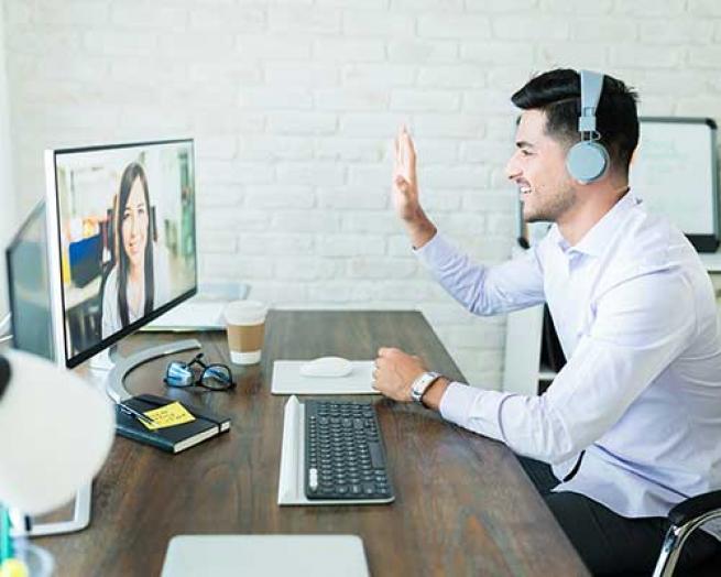 A video meeting.
