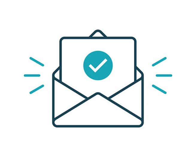 An illustration of an envelope with a check mark.