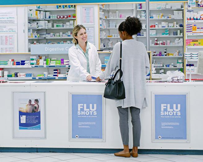 Patient with a pharmacist,