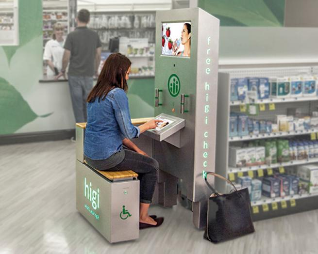 a person sitting in front of a store