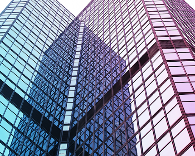 Two modern office buildings.