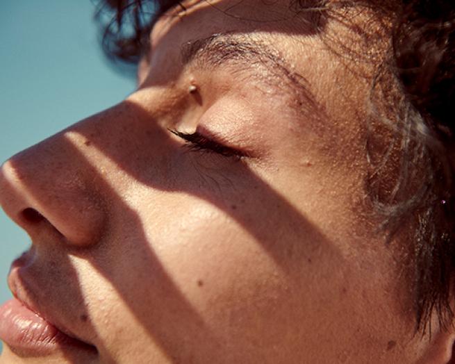 a close up of a man