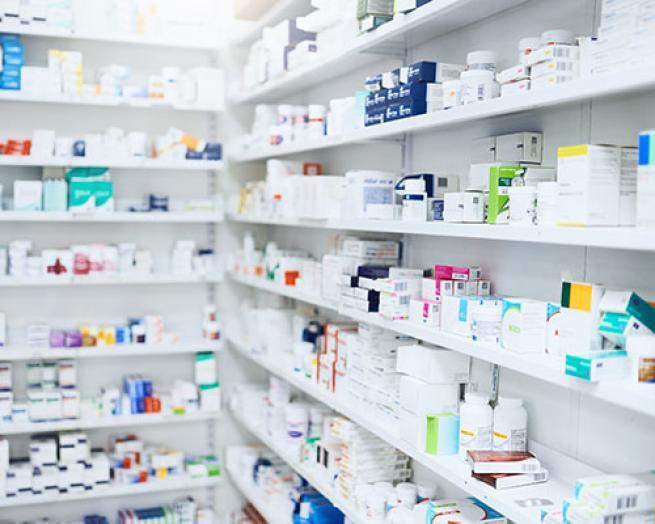 A pharmacy stockroom