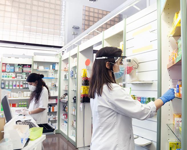 A pharmacist in a pharmacy