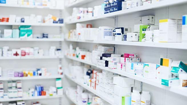 A pharmacy stock room.