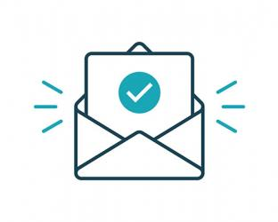 An illustration of an envelope with a paper that has a check mark.