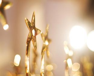 Gold trophies with stars.