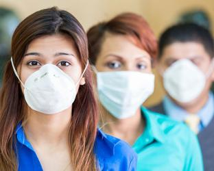 Healthcare workers wearing face masks.