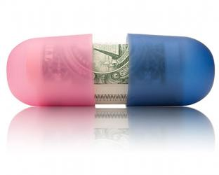 A pink and blue pill with money inside.