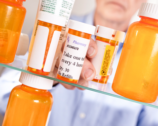 A variety of pill bottles.