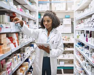 A pharmacist in a stockroom